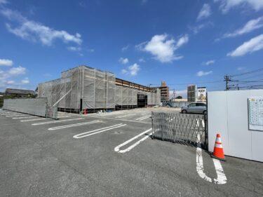 わさだタウンの近くのジョイフル田尻店の跡地にワークマンプラス 大分わさだ店が建設中だった